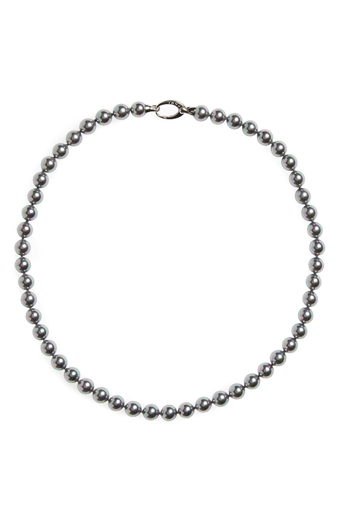 7mm Round Simulated Pearl Strand Necklace,                         Main,                         color, Grey