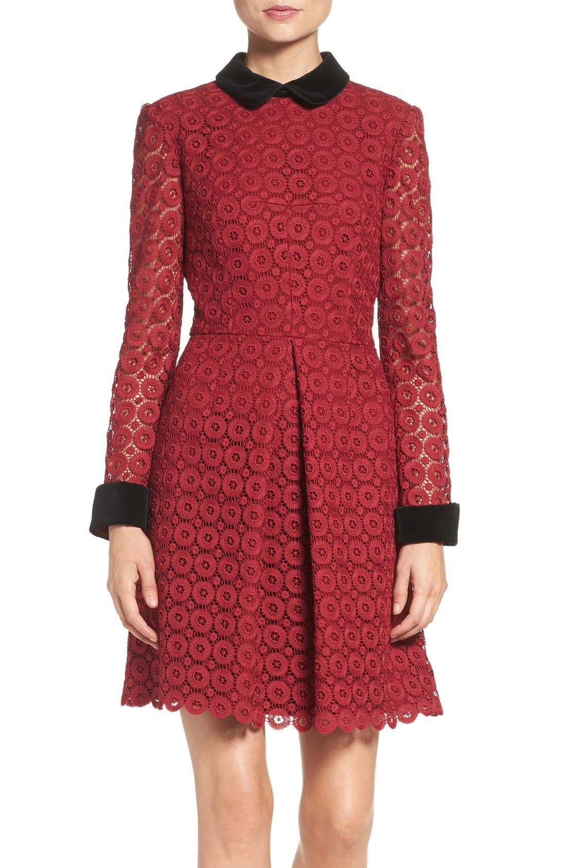 Main Image - Jill Jill Stuart Velvet & Lace Shirtdress