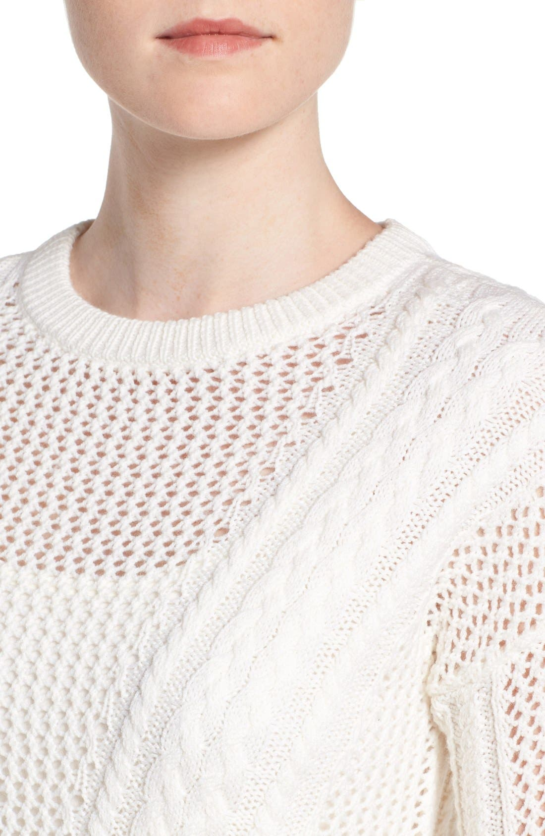 Amory Open Knit Sweater,                             Alternate thumbnail 4, color,                             Ivory