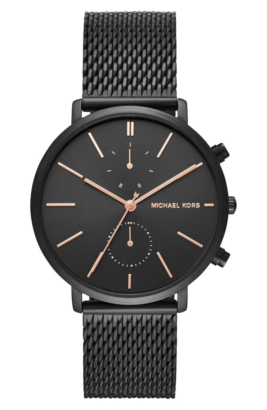 Jaryn Chronograph Bracelet Watch, 42mm,                         Main,                         color, Black/ Rose Gold