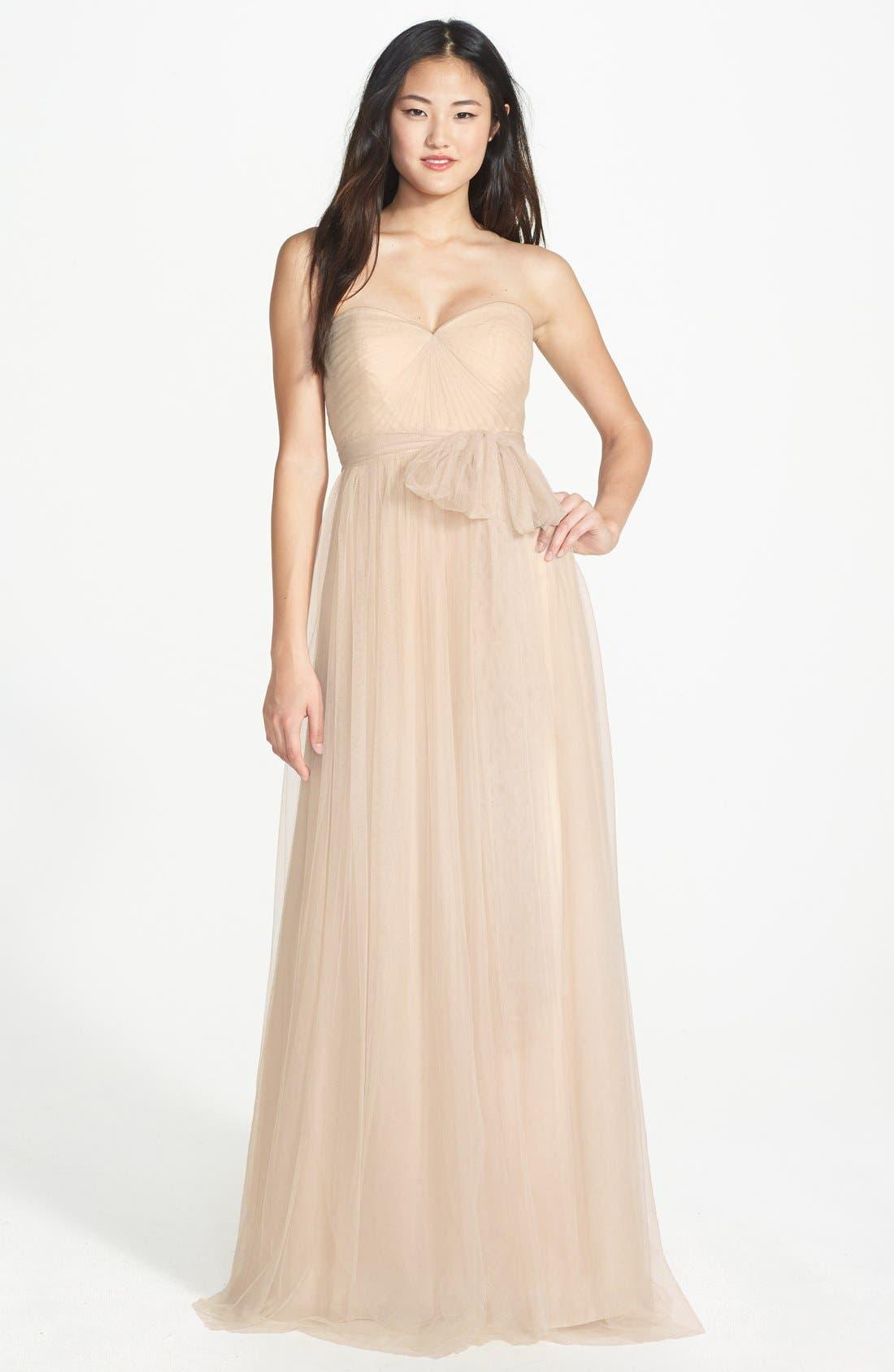 Annabelle Convertible Tulle Column Dress,                         Main,                         color, Cashmere