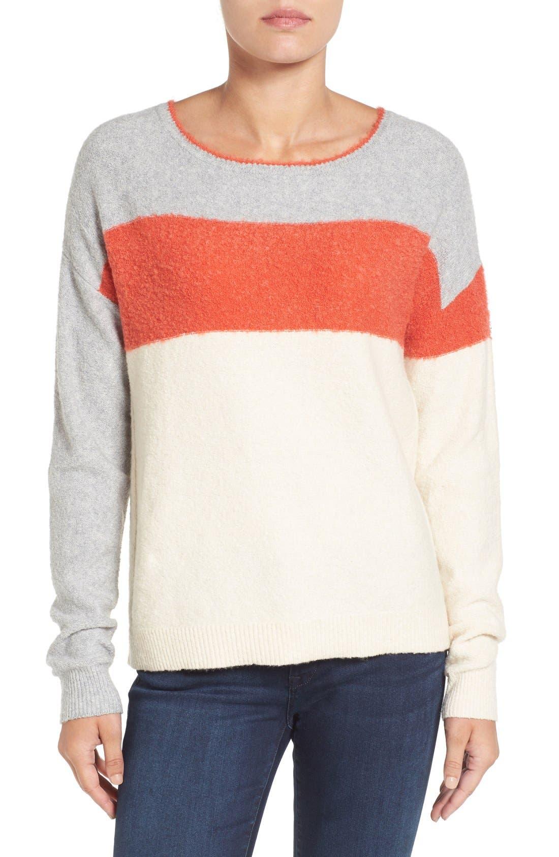 Alternate Image 1 Selected - Caslon® Back Button Stripe Sweater (Regular & Petite)