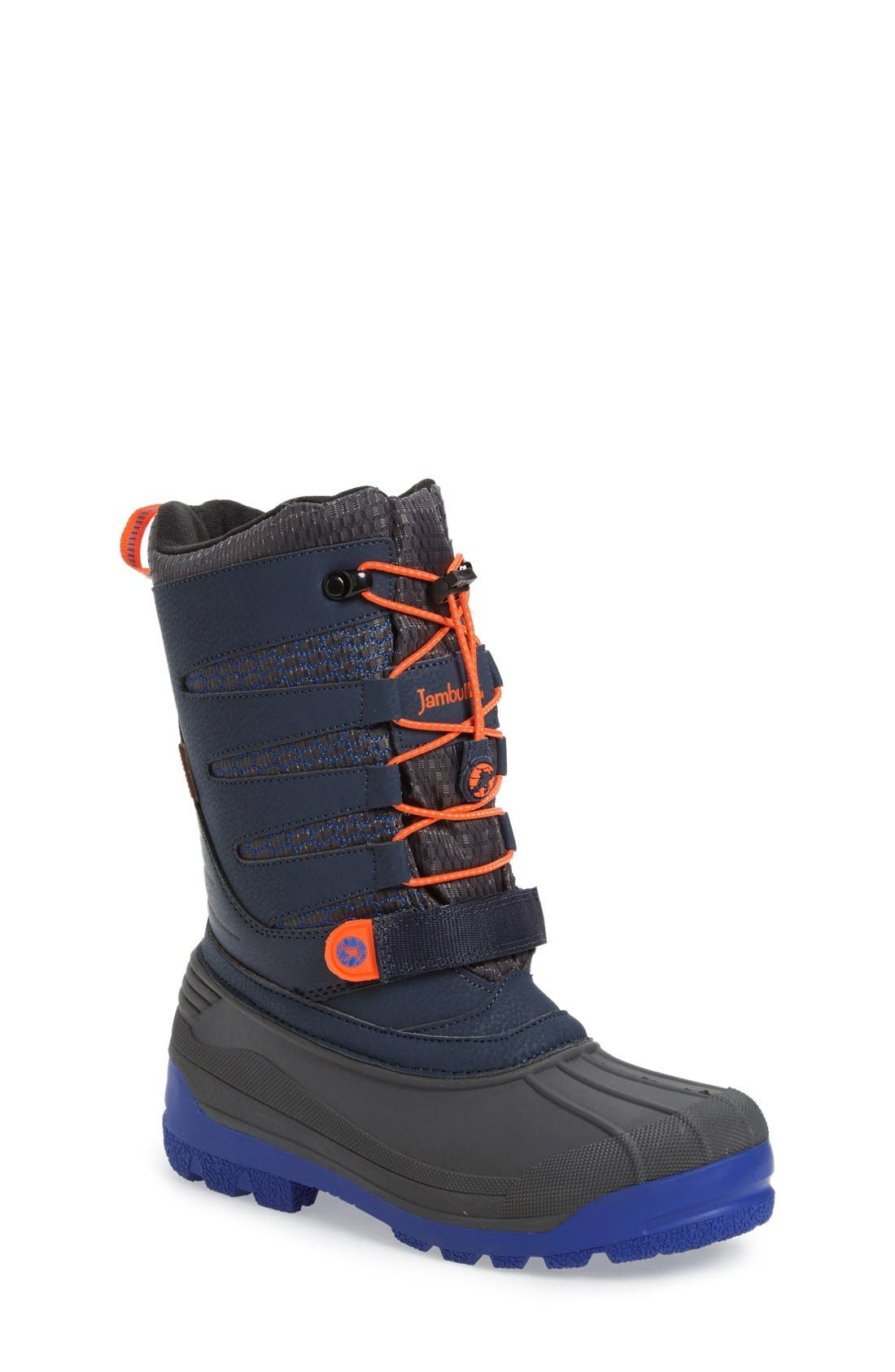 'Venom' Waterproof Insulated Snow Boot,                             Main thumbnail 1, color,                             Navy/ Orange