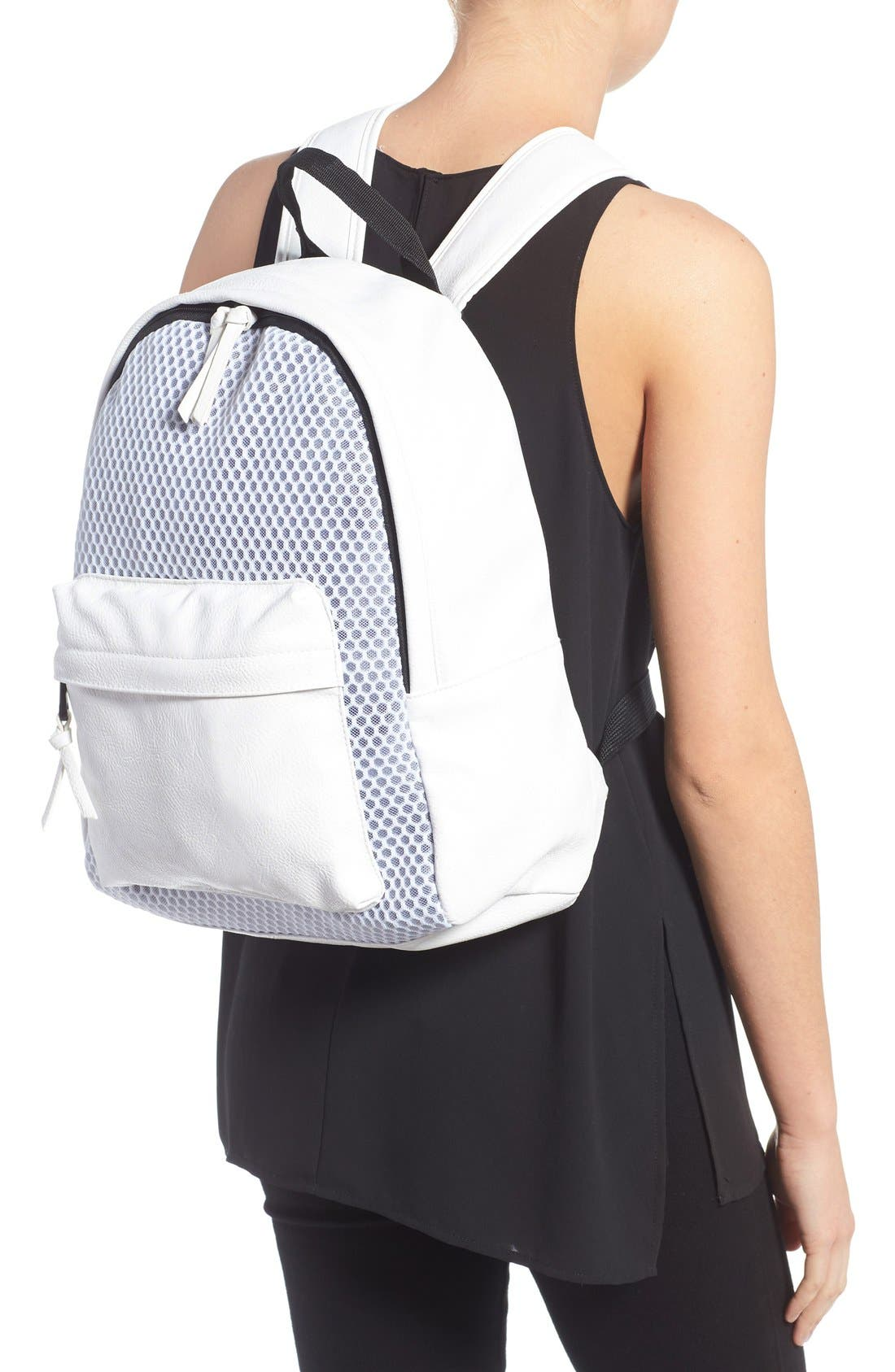 Alternate Image 2  - POVERTY FLATS by rian 'Sport' Faux Leather & Mesh Backpack
