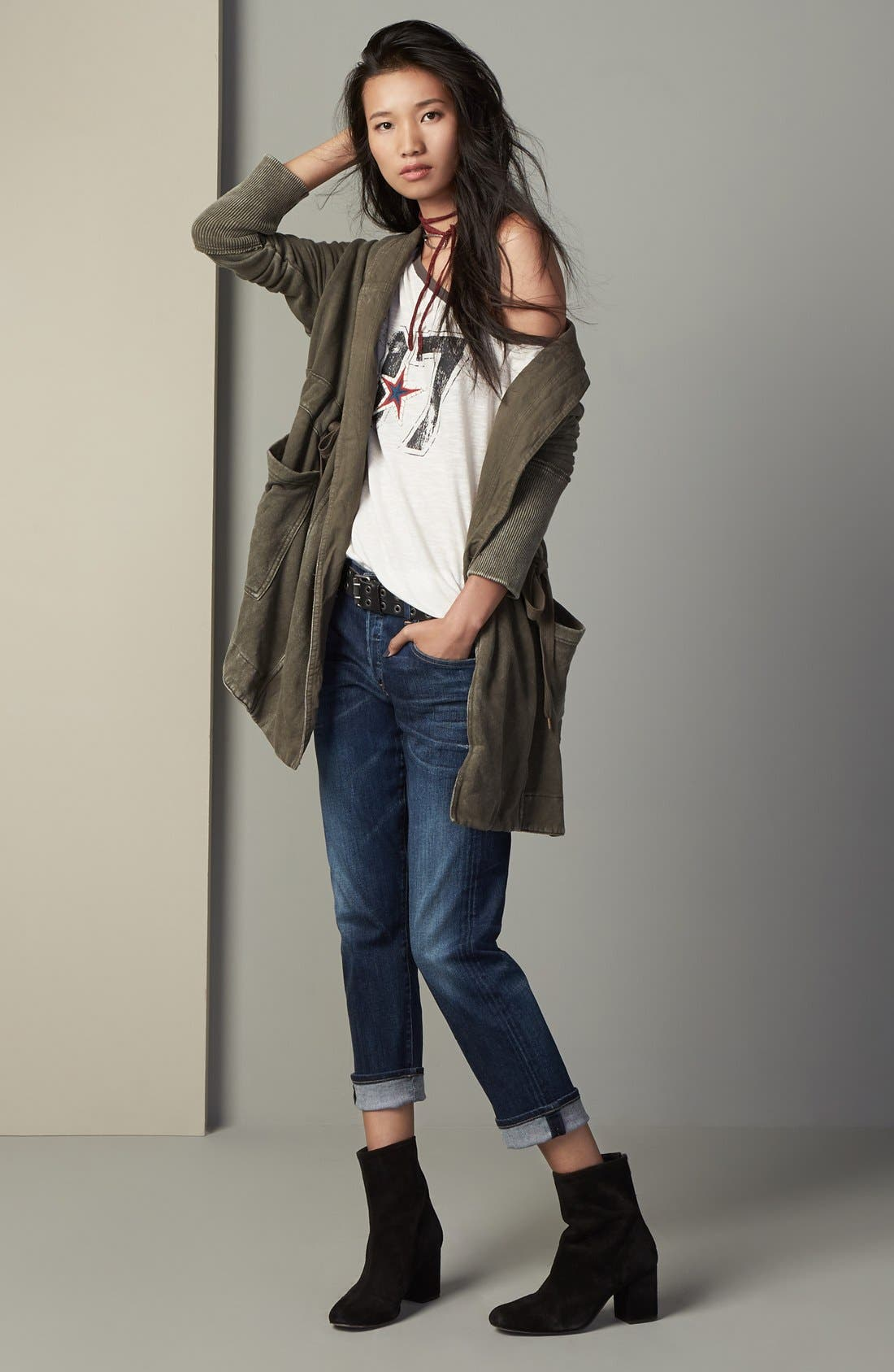 Free People Cardigan, Tee & Citizens of Humanity Jeans Outfit with Accessories