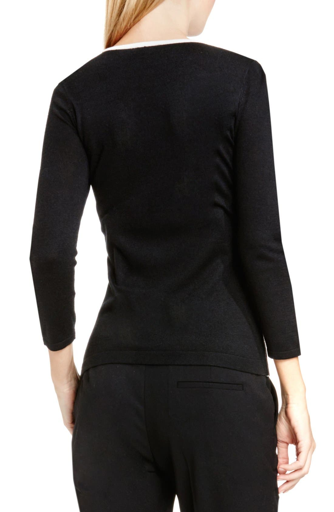 Alternate Image 2  - Vince Camuto Side Lace Trim Sweater (Regular & Petite)