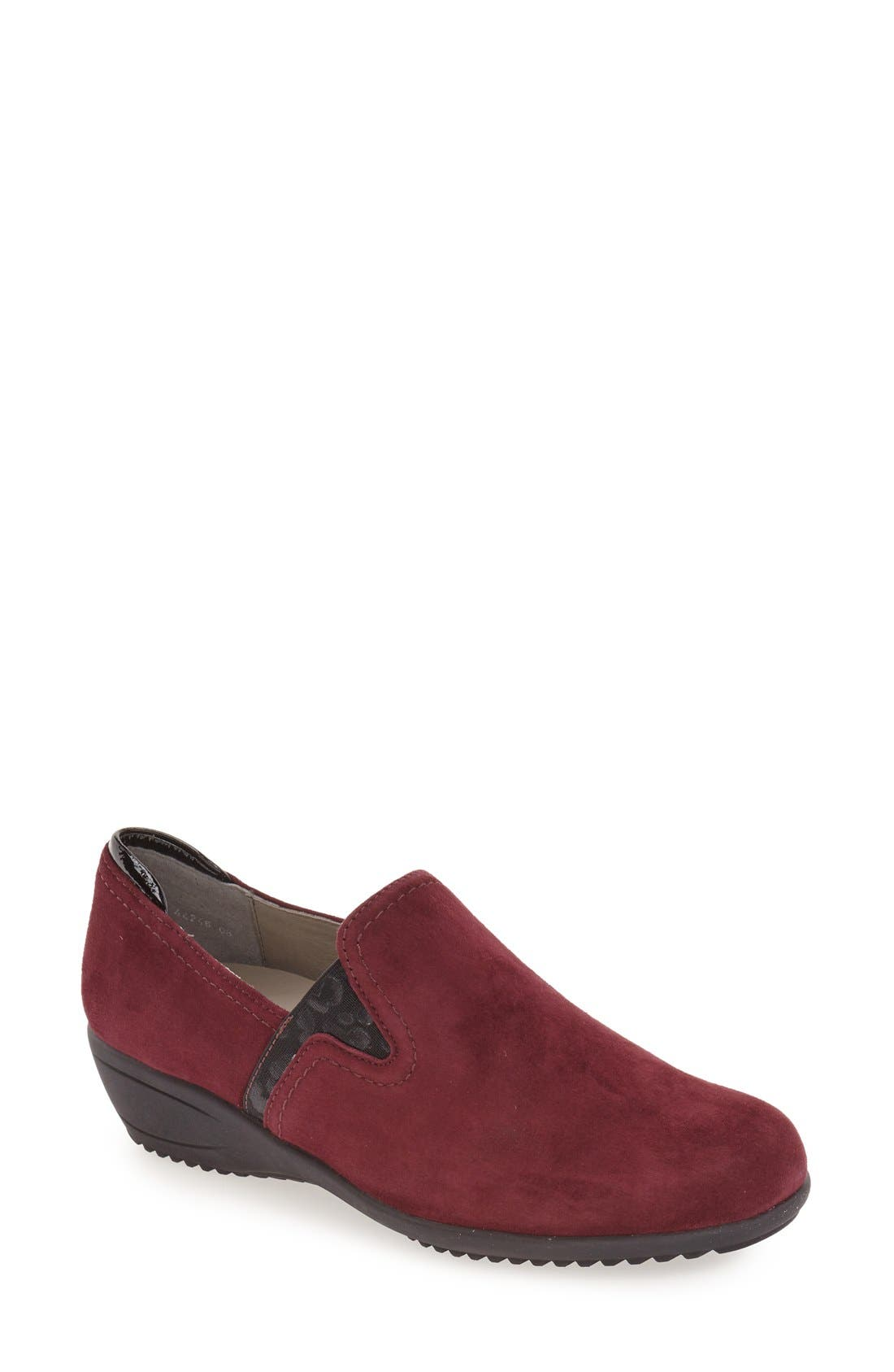 'Lilli' Wedge Loafer,                         Main,                         color, Burgundy Suede