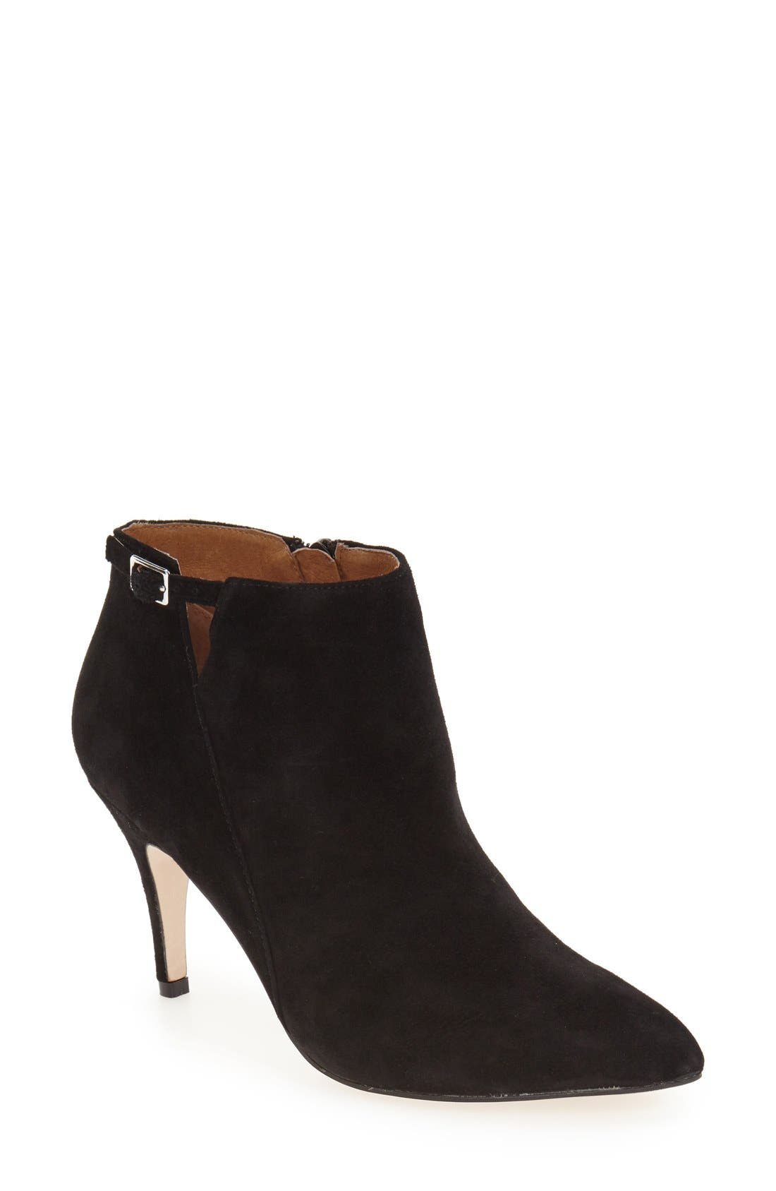 'Roster' Pointy Toe Bootie,                             Main thumbnail 1, color,                             Black Suede