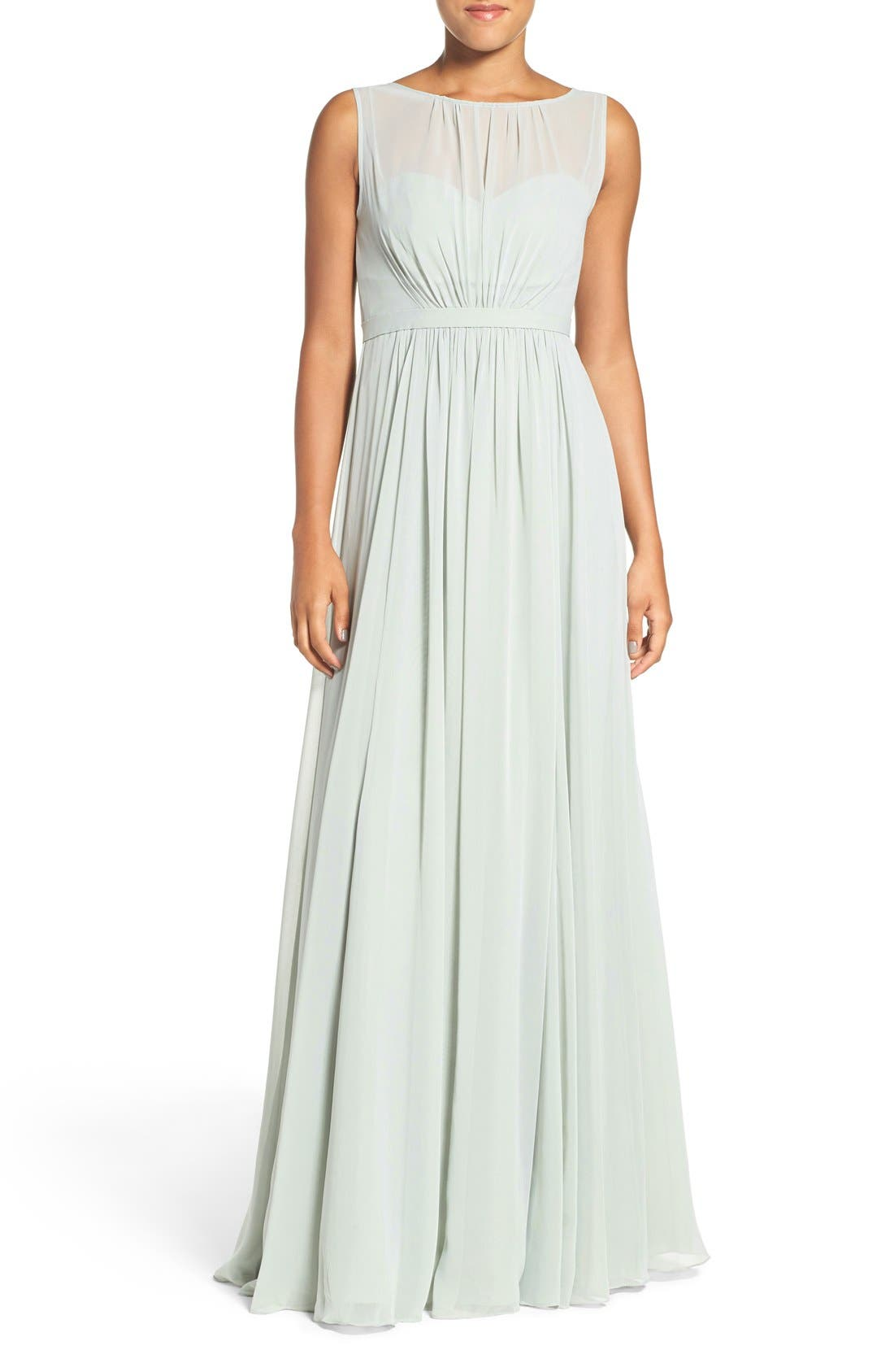 Vivienne Pleated Chiffon Gown,                         Main,                         color, Morning Mist