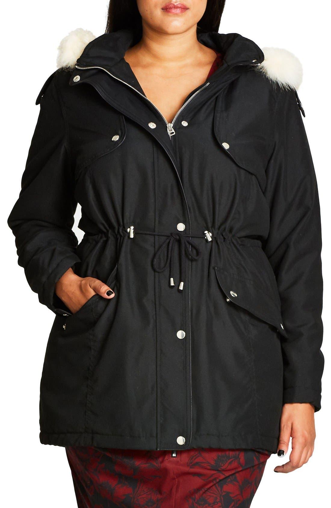 City Chic 'London Look' Faux Fur Trim Hooded Parka (Plus Size)