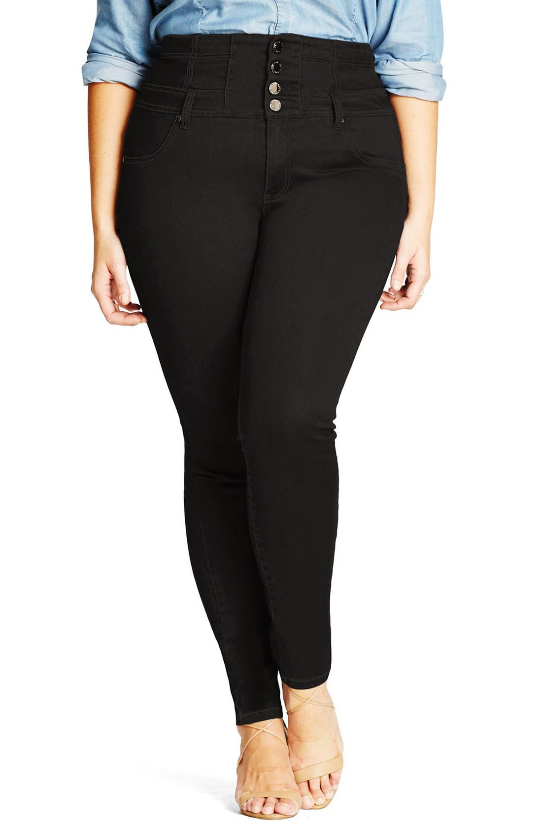 City Chic 'Harley' Corset Waist Skinny Jeans (Plus Size)