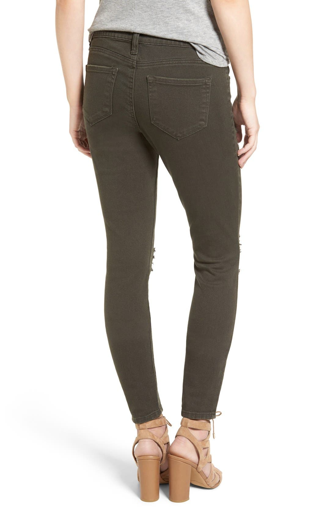 Alternate Image 2  - STS Blue 'Piper' Deconstructed Skinny Jeans (Dark Olive)