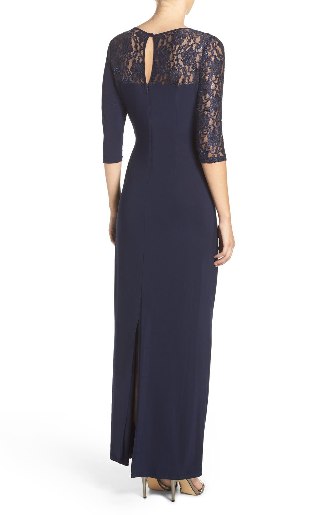 Sequin Lace & Jersey Gown,                             Alternate thumbnail 2, color,                             Navy