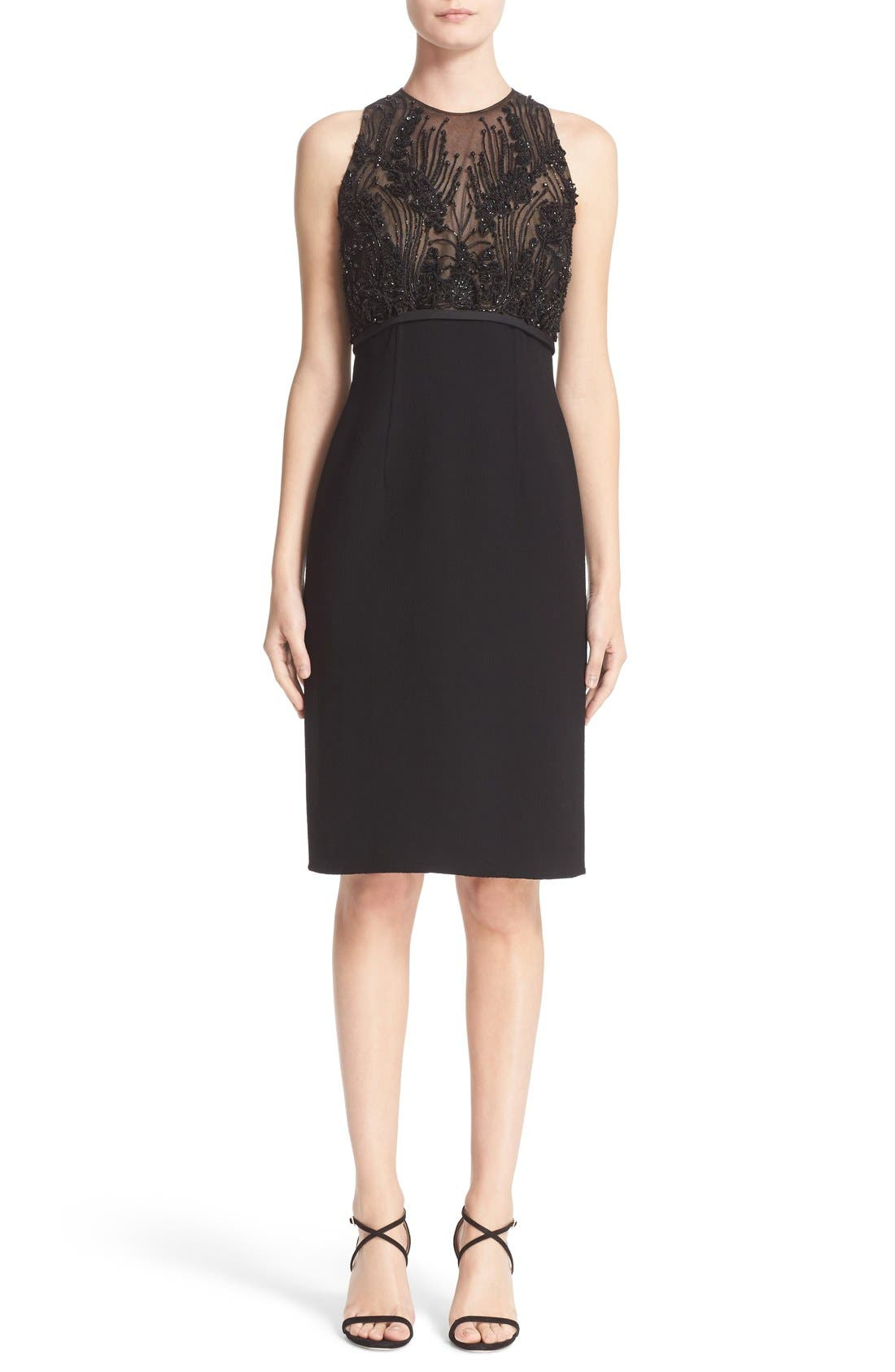 CARMEN MARC VALVO COUTURE Embellished Bodice Sleeveless Cocktail Dress