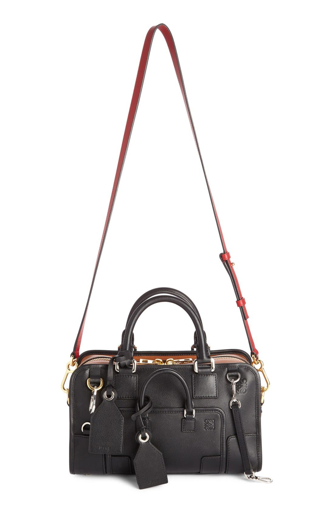 'Amazona Multiplication' Bicolor Leather Satchel,                         Main,                         color, Black