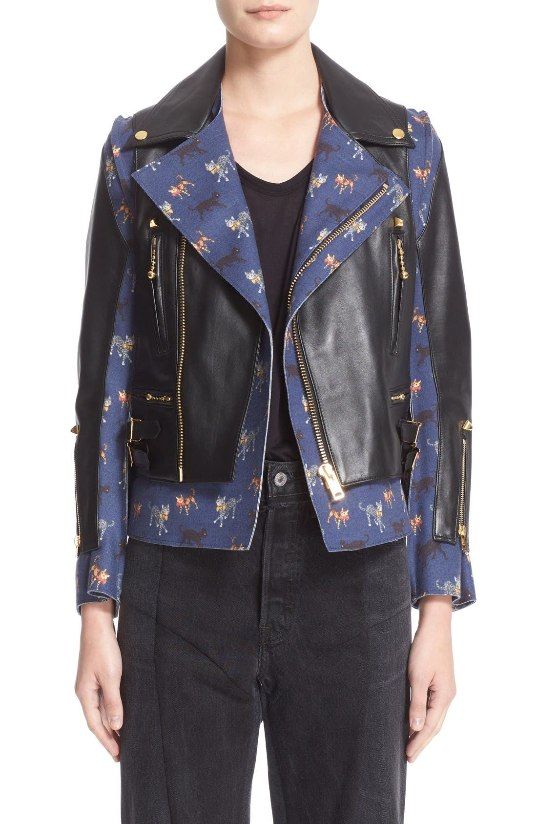 Alternate Image 1 Selected - Undercover Leather & Wool Moto Jacket