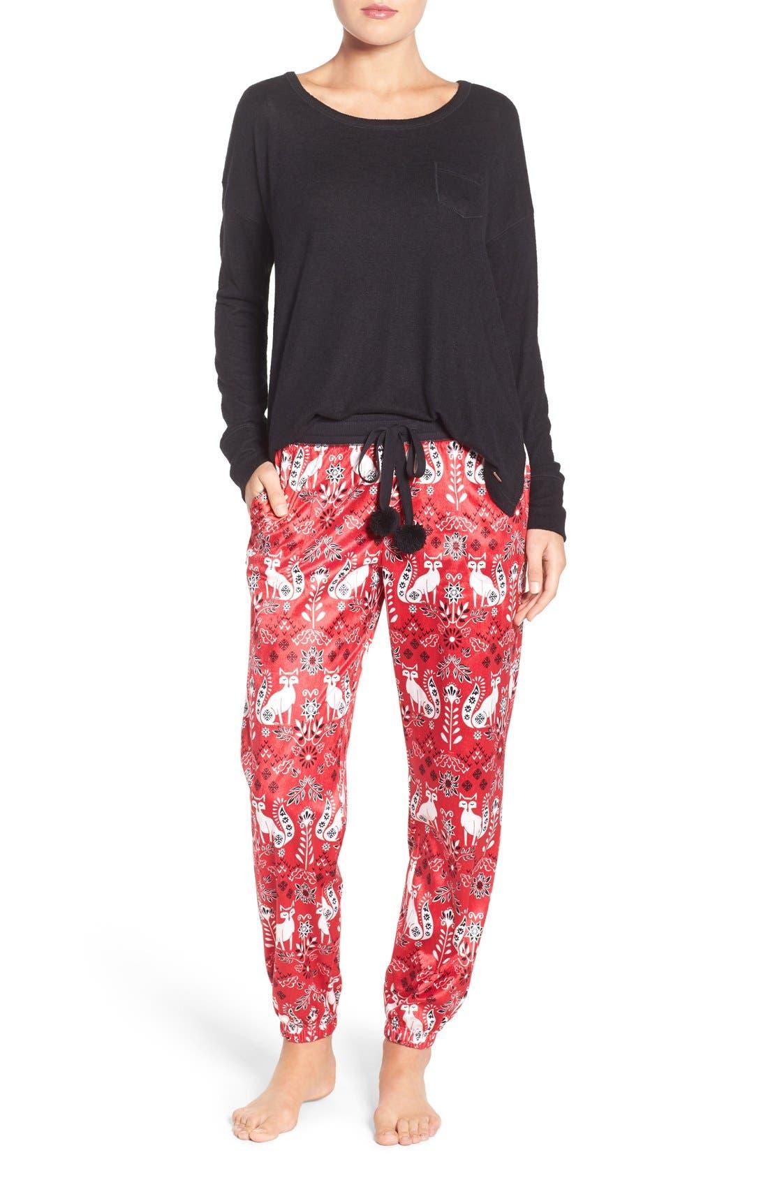 Long Pajamas & Eye Mask,                             Main thumbnail 1, color,                             Samba Foxes
