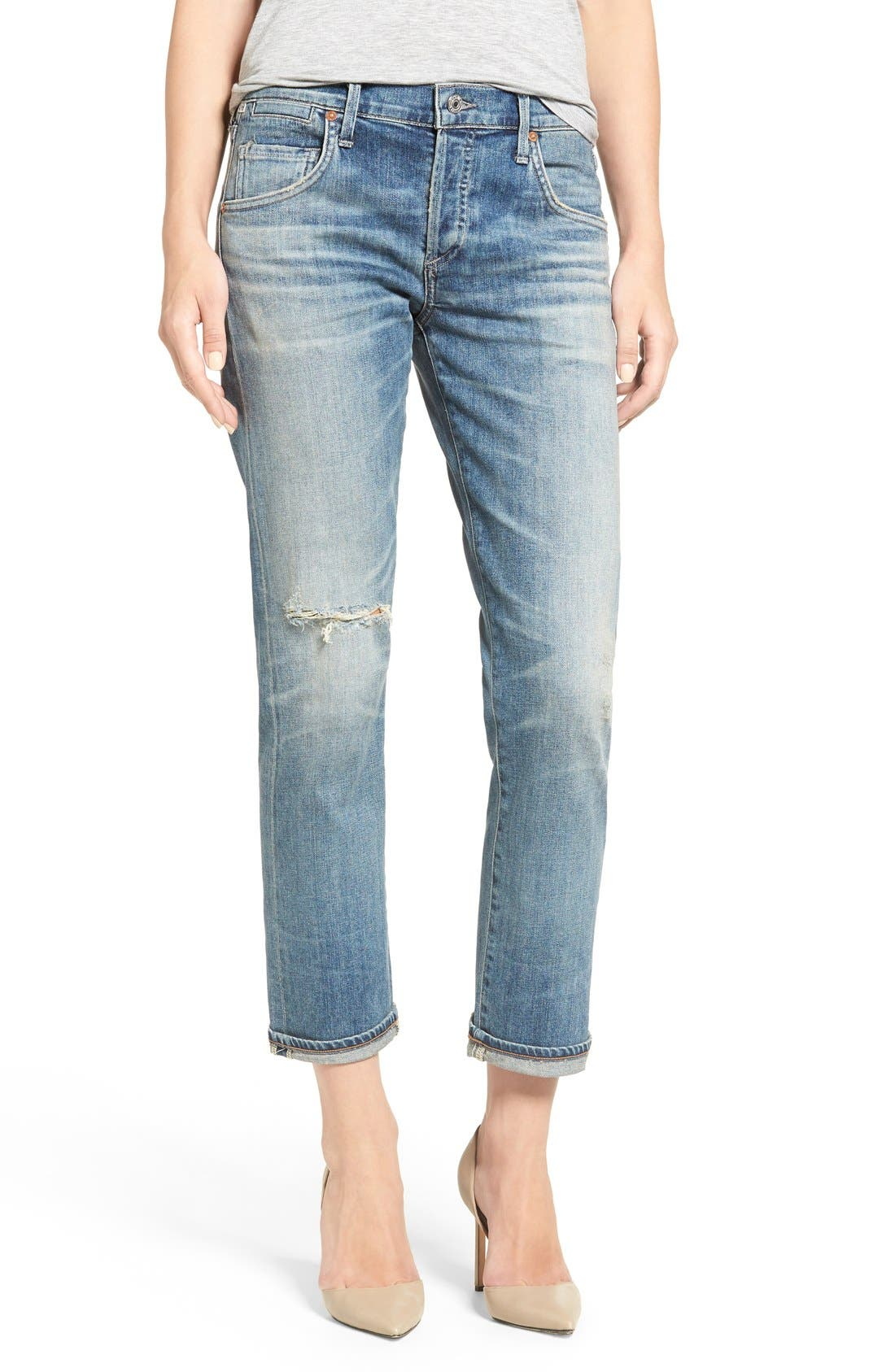 'Emerson' Ripped Slim Boyfriend Jeans,                             Main thumbnail 1, color,                             Roseland