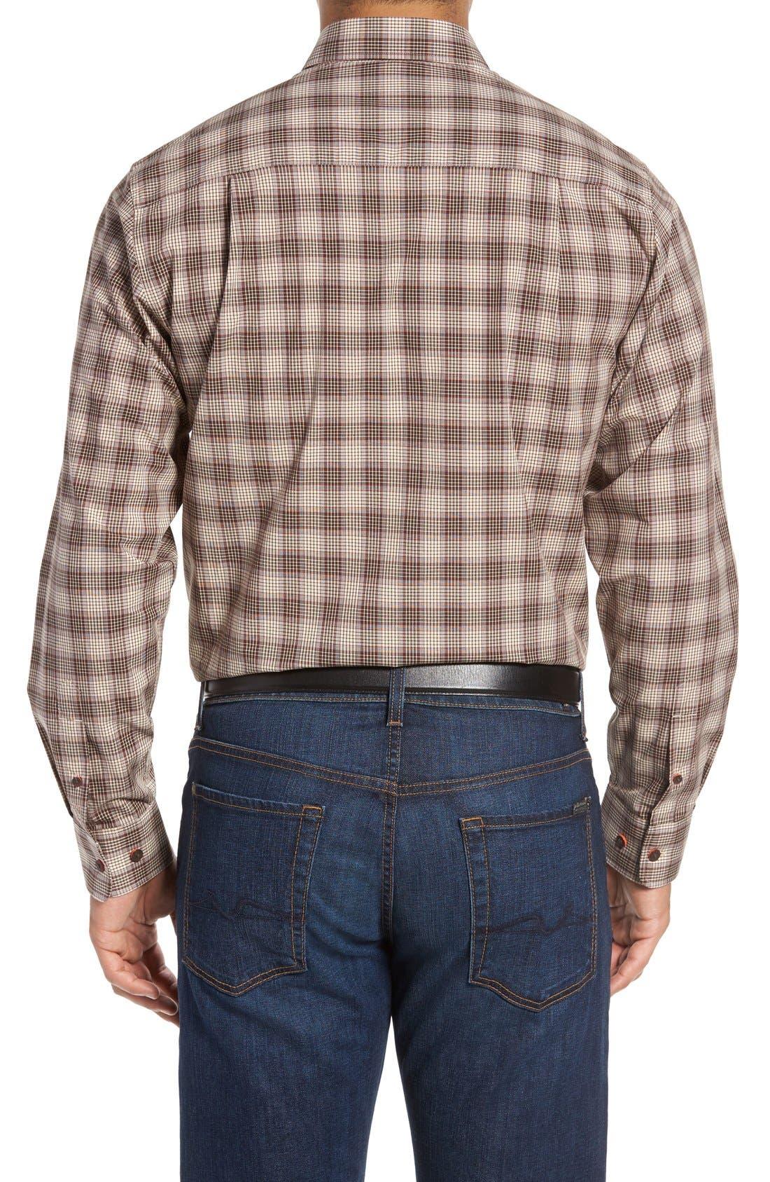 Alternate Image 2  - Cutter & Buck 'Ridge' Plaid Cotton Poplin Sport Shirt (Big & Tall)