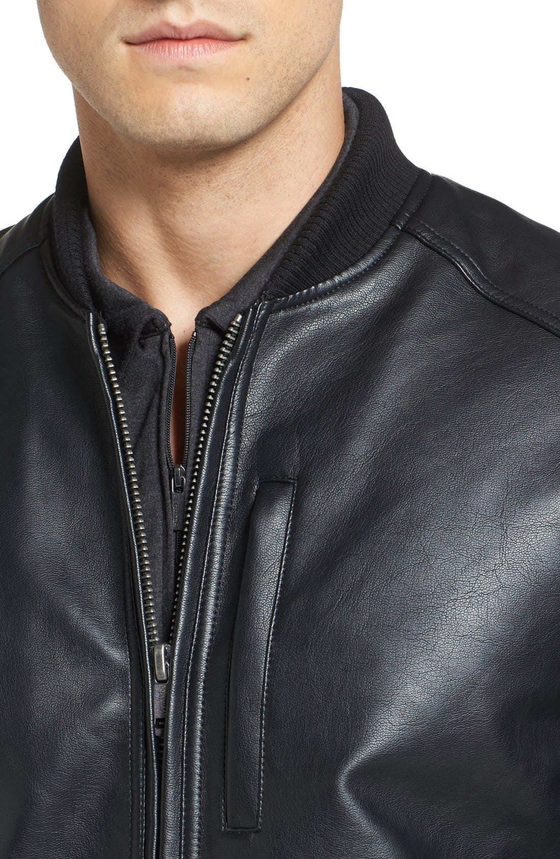 Alternate Image 4  - Cole Haan Faux Leather Varsity Jacket