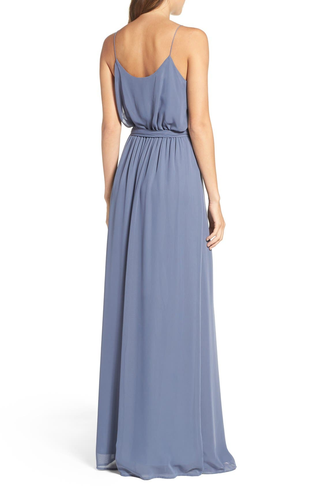 'Drew' Ruffle Front Chiffon Gown,                             Alternate thumbnail 3, color,                             Blue Steel