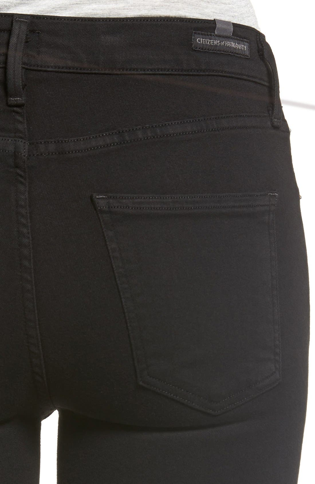 Alternate Image 4  - Citizens of Humanity 'Rocket' Skinny Jeans (All Black) (Petite)