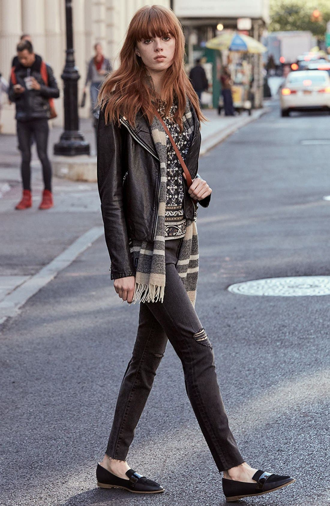 Madewell Tee, Jacket & Jeans Outfit with Accessories