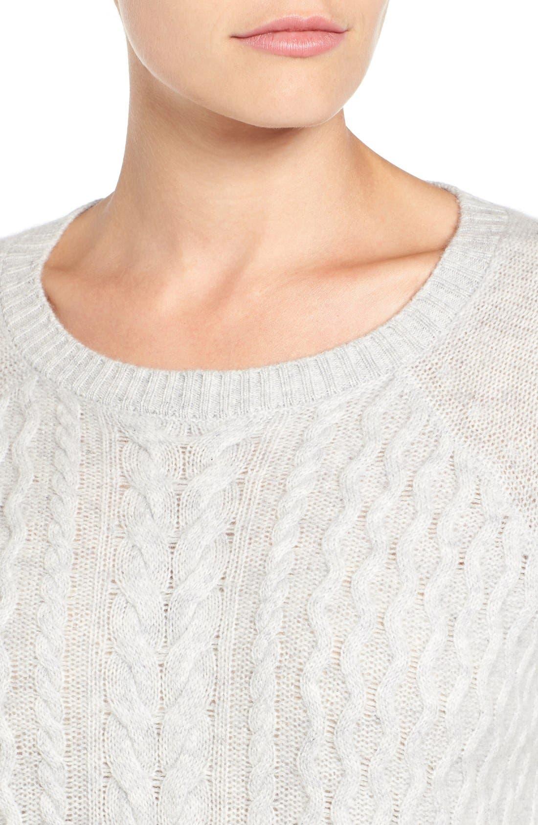 Alternate Image 5  - Halogen® Cable Knit Wool & Cashmere Sweater (Regular & Petite)