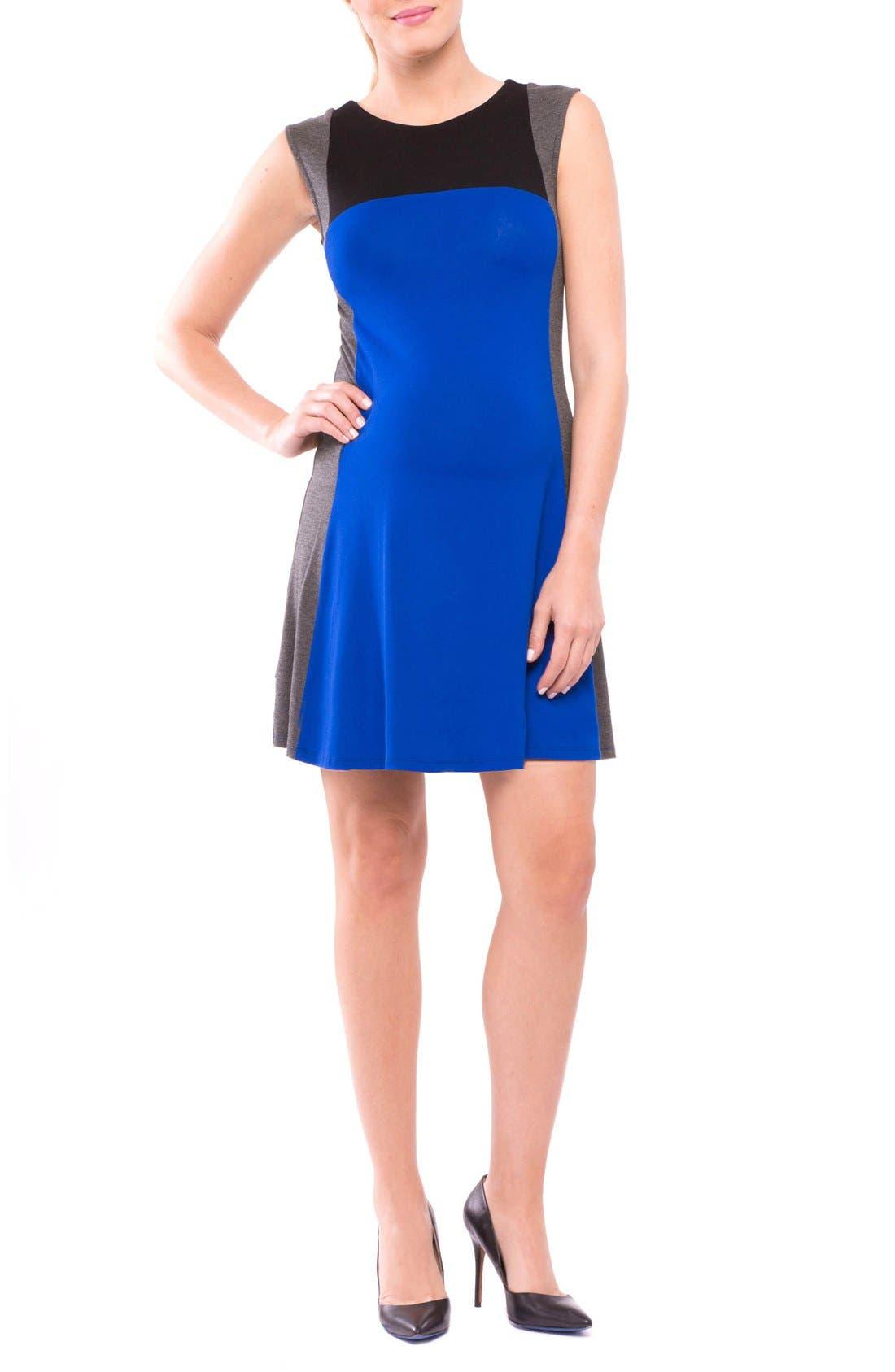 Margarett Maternity Dress,                         Main,                         color, True Blue/ Grey/ Black