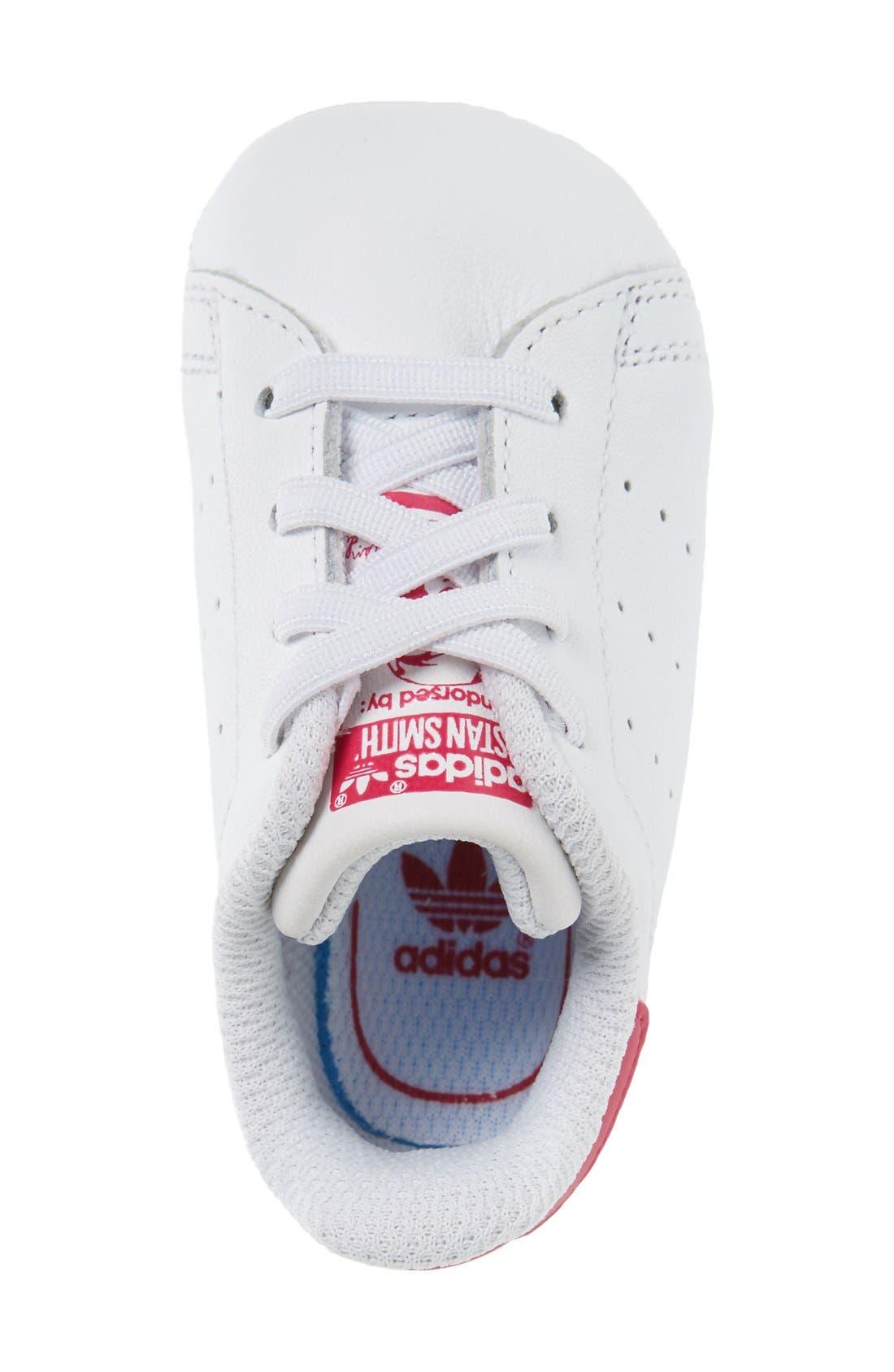 'Stan Smith' Crib Sneaker,                             Alternate thumbnail 3, color,                             White/ White/ Pink