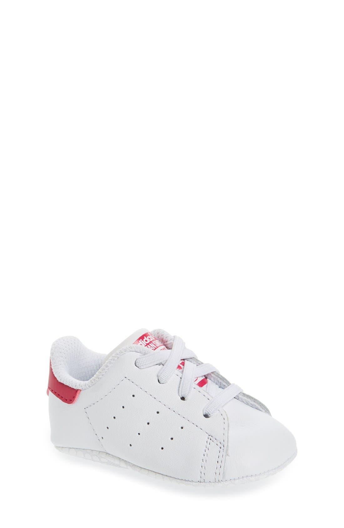 'Stan Smith' Crib Sneaker,                             Main thumbnail 1, color,                             White/ White/ Pink