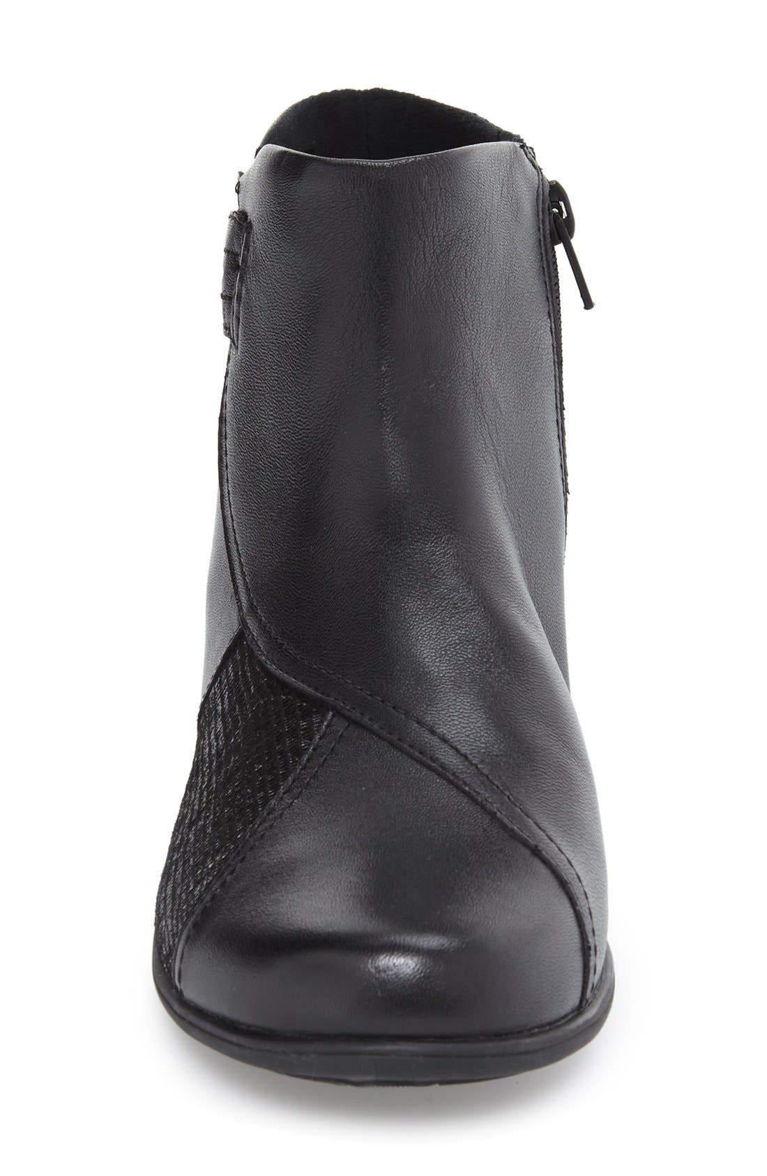 'Anstice' Wedge Bootie,                             Alternate thumbnail 3, color,                             Black Leather