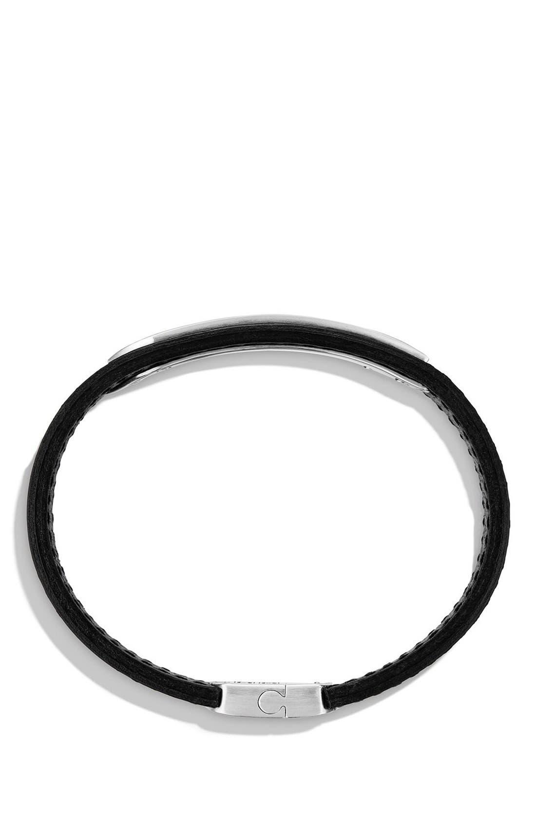 'Graphic Cable' Leather ID Bracelet,                             Alternate thumbnail 2, color,                             Silver/ Black