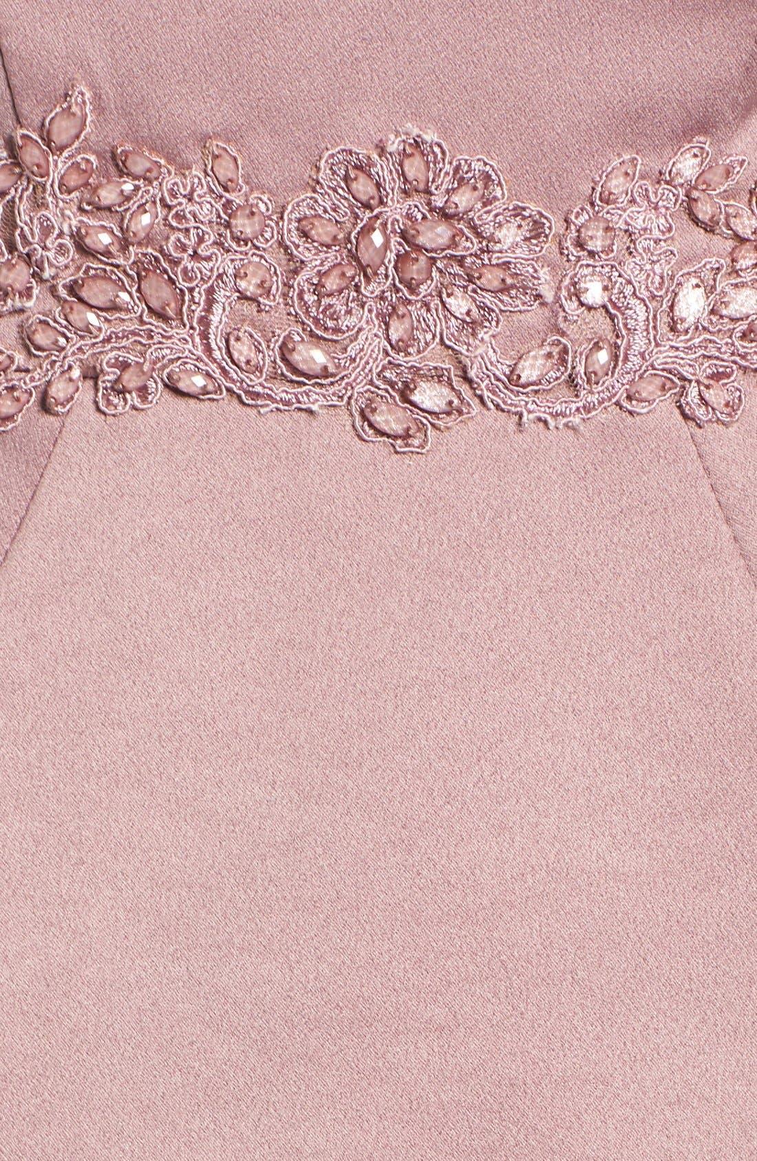 Alternate Image 5  - La Femme Mock Two-Piece Satin Gown