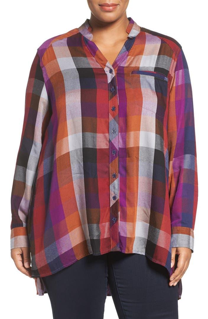 Melissa mccarthy seven7 plaid flannel shirt plus size for Plus size plaid flannel shirt