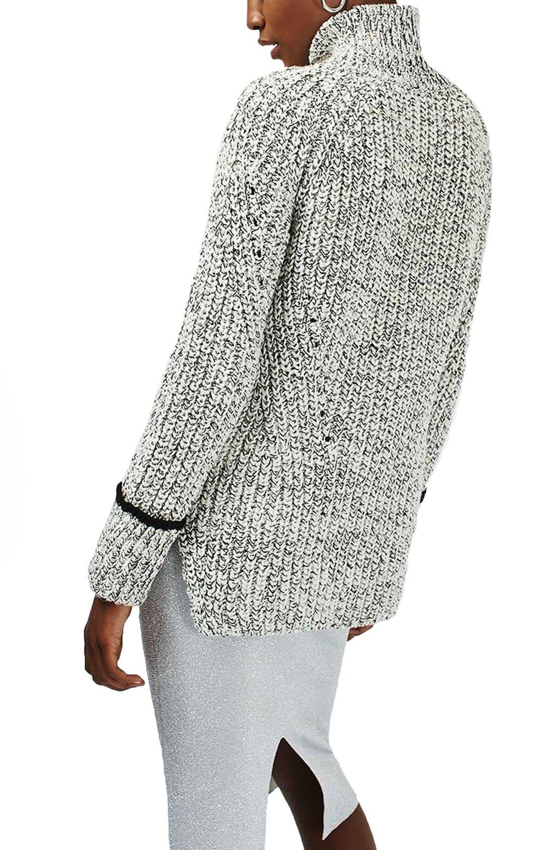 Alternate Image 3  - Topshop Stripe Cuff Funnel Neck Sweater