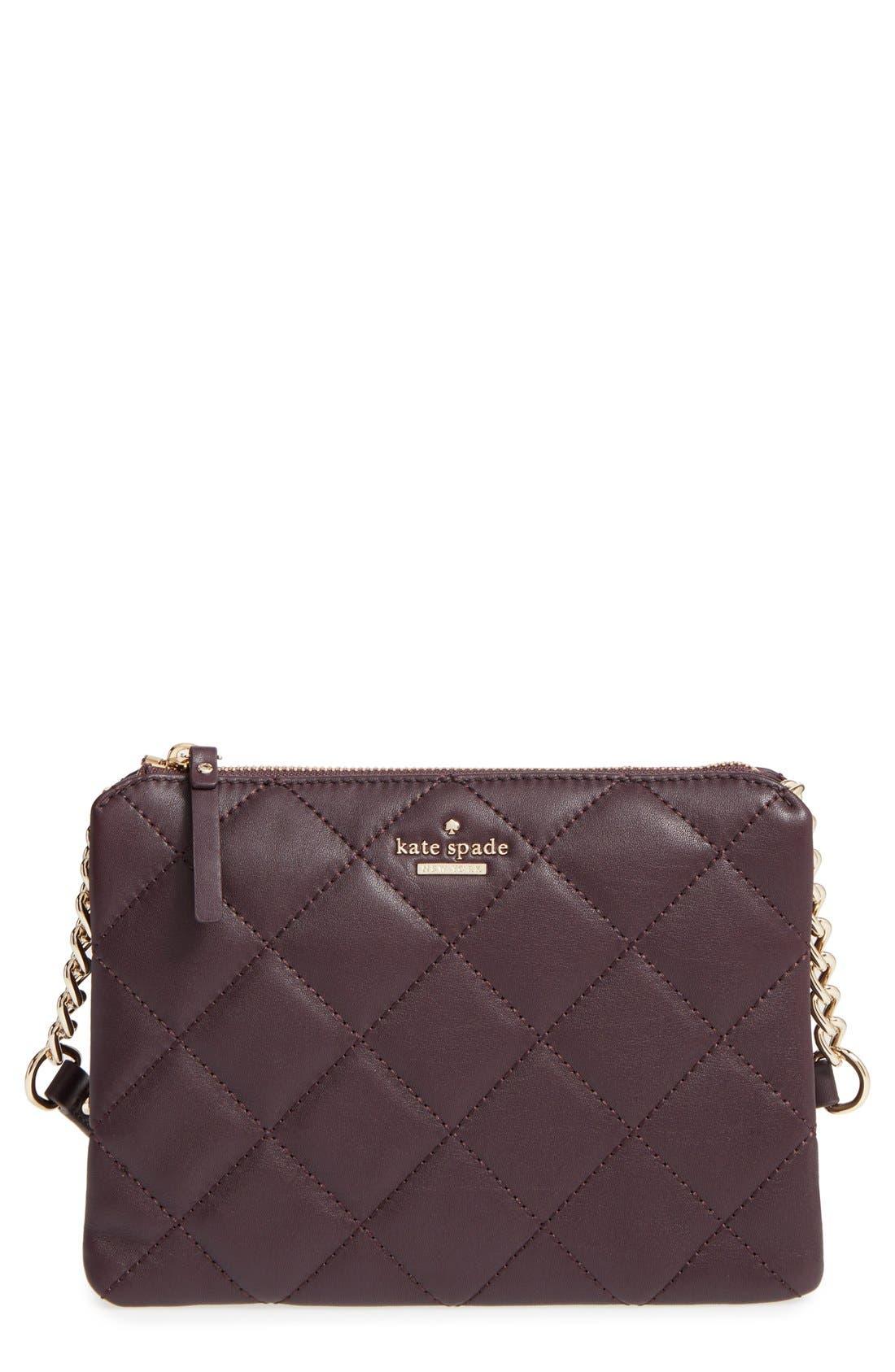 emerson place harbor leather crossbody bag,                         Main,                         color, Dark Mahogany