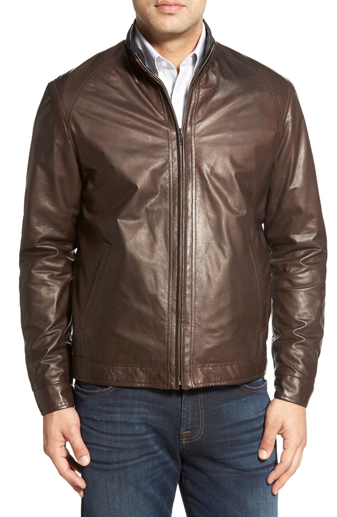 Lambskin Leather Jacket,                             Alternate thumbnail 4, color,                             Coffee