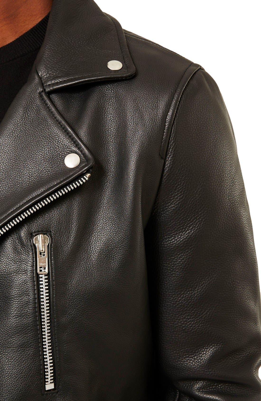 Alternate Image 4  - Topman Leather Biker Jacket