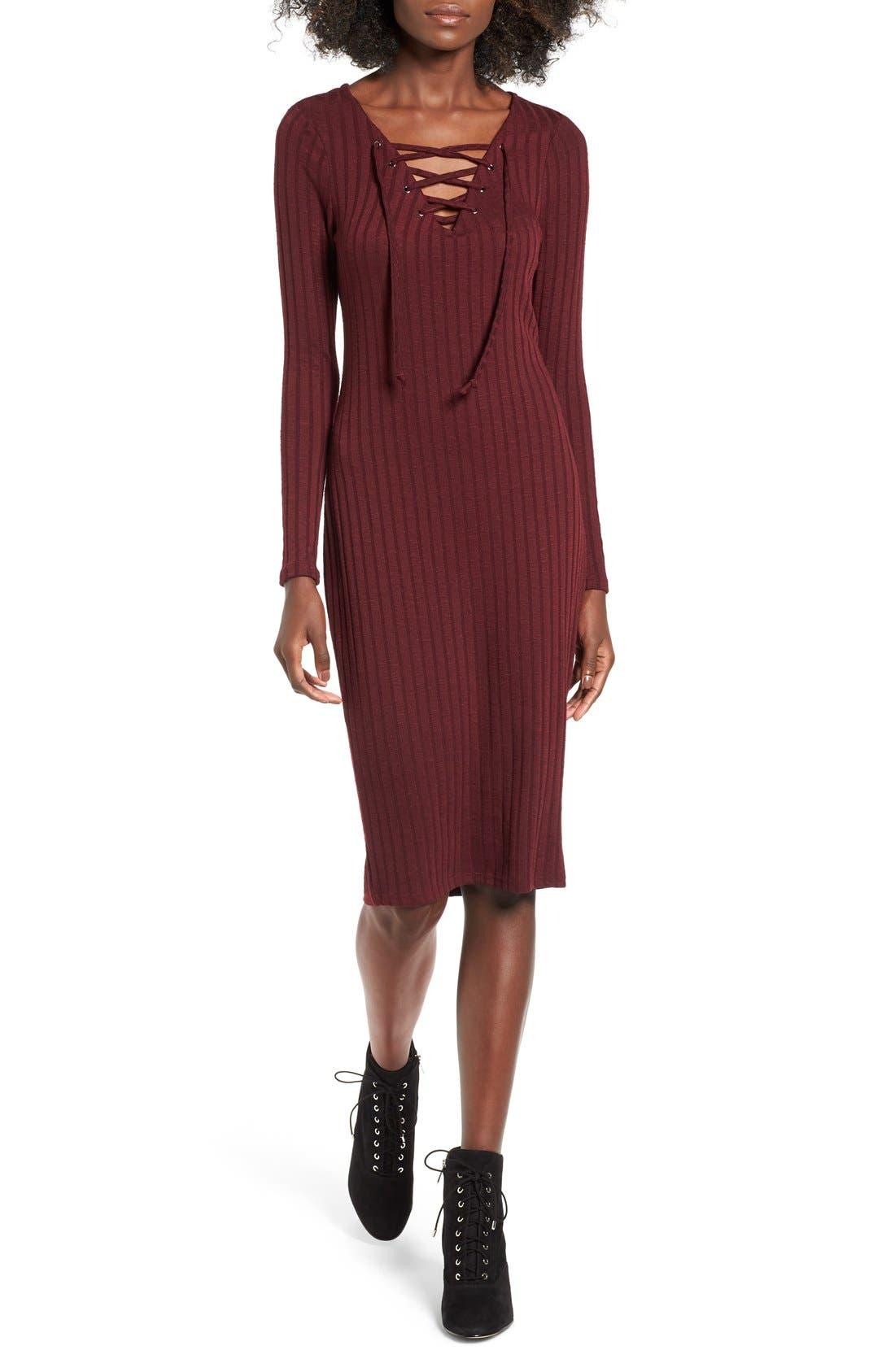 Main Image - Love, Fire Lace-Up Rib Knit Dress