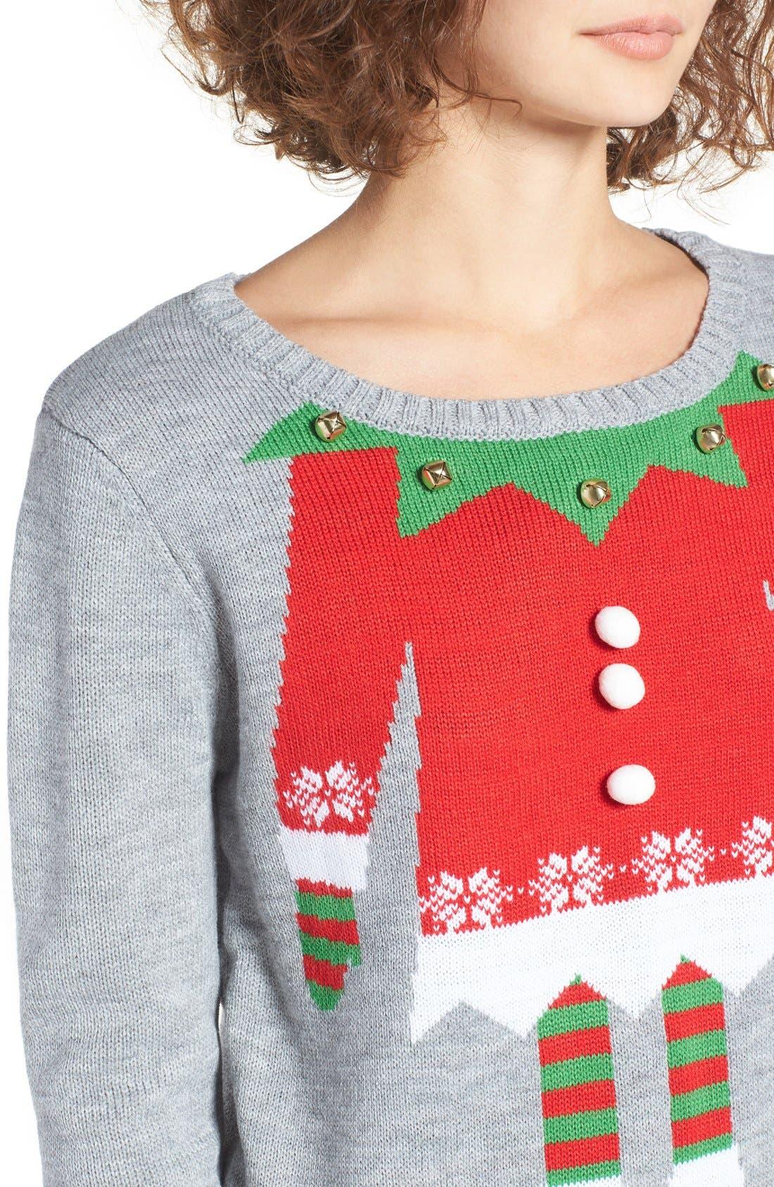 Alternate Image 4  - Love By Design Elf Body Christmas Sweater