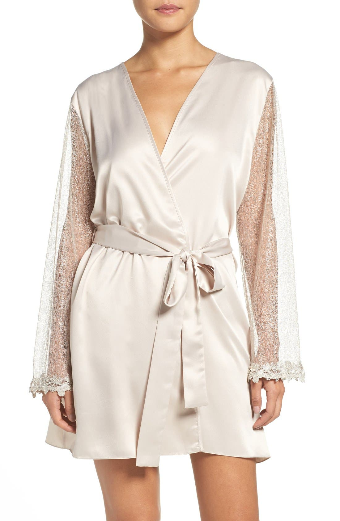 FLORA NIKROOZ Showstopper Charmeuse Cover-Up Robe in Champagne