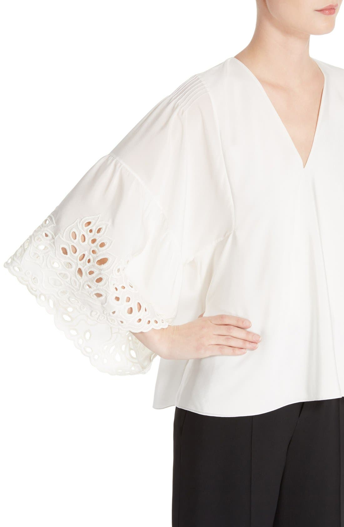 Palm Lace Silk Blouse,                             Alternate thumbnail 5, color,                             Milk