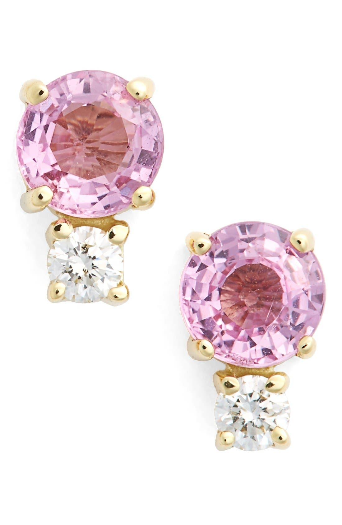 Pink Sapphire & Diamond Stud Earrings,                         Main,                         color, Yellow Gold