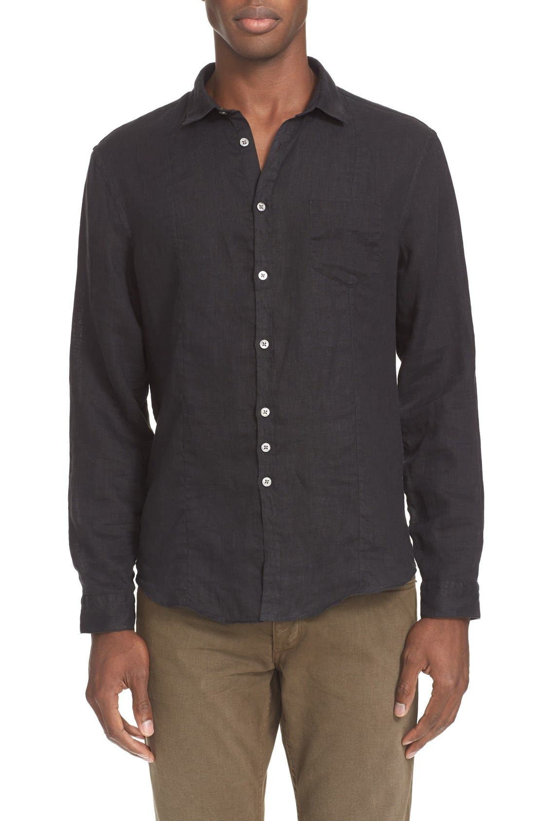 John Varvatos Collection Slim Fit Linen Sport Shirt