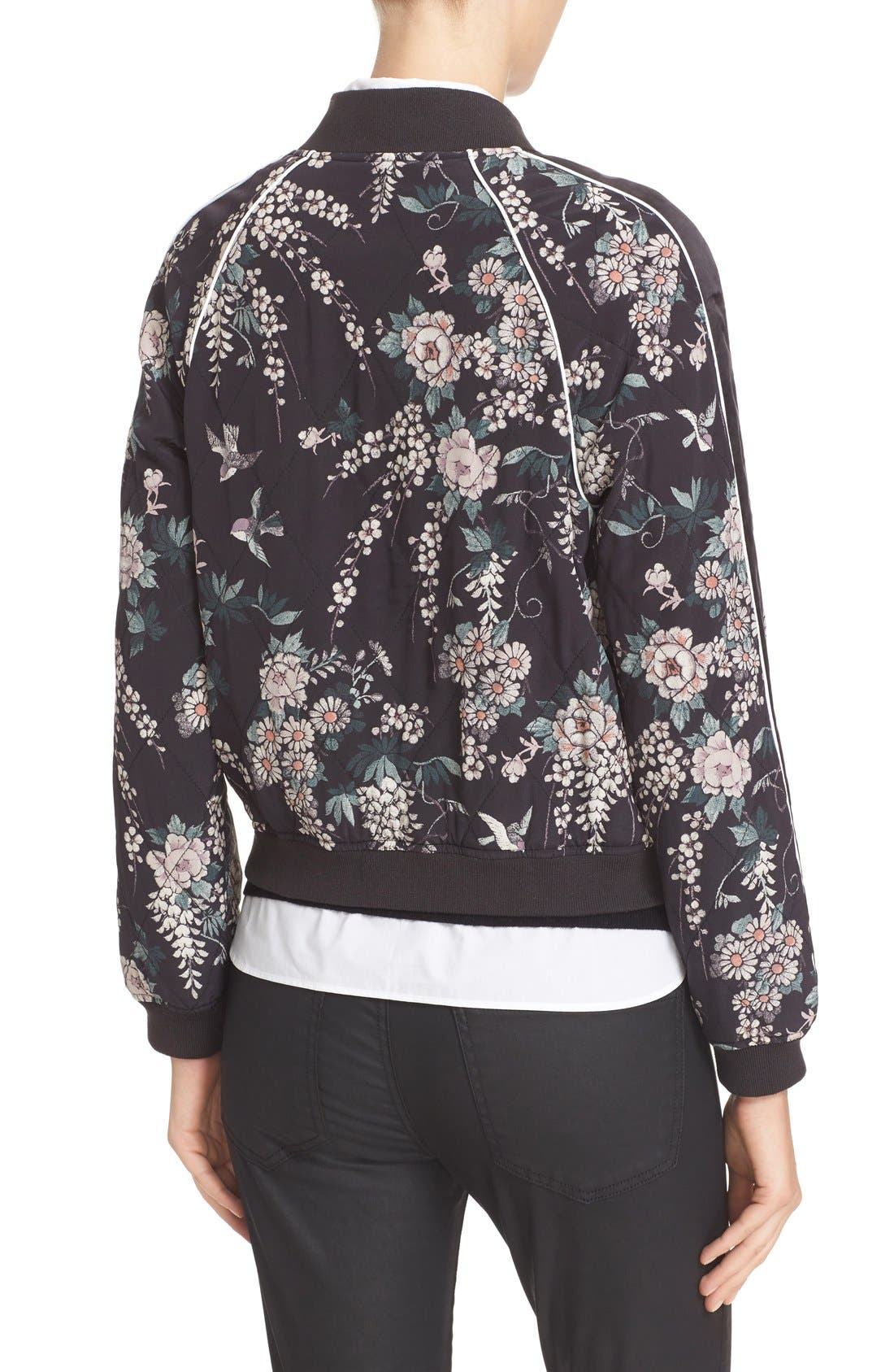 Alternate Image 3  - Joie Mace Print Quilted Silk Baseball Jacket
