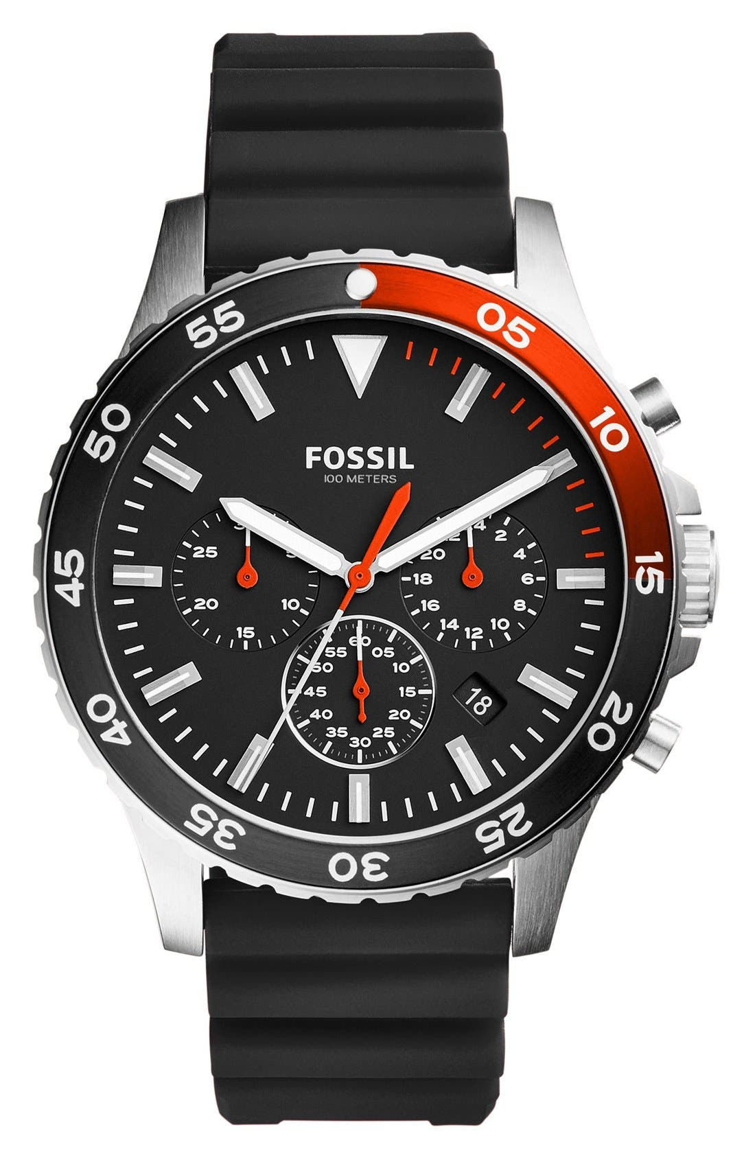 Alternate Image 1 Selected - Fossil Crewmaster Chronograph Silicone Strap Watch, 46mm