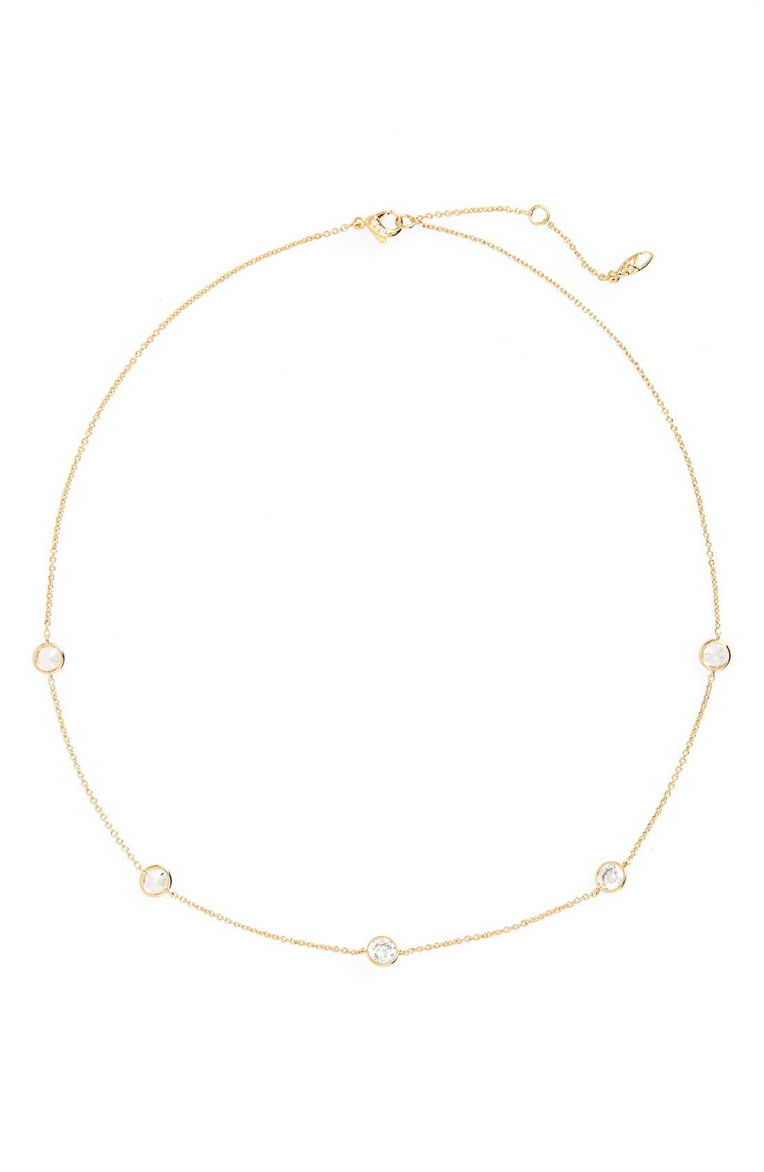 Cubic Zirconia Bezel Station Necklace,                         Main,                         color, Gold