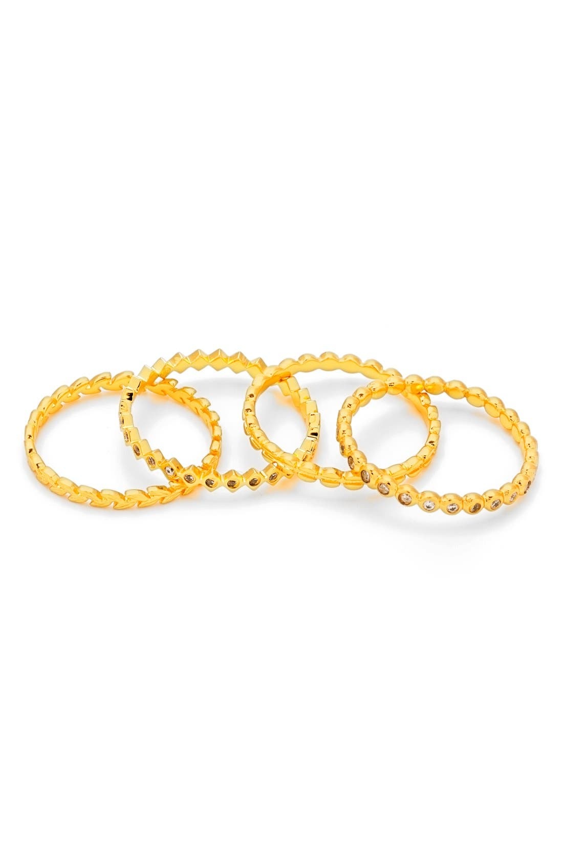 Stackable Set of 4 Band Rings,                             Alternate thumbnail 2, color,                             Gold