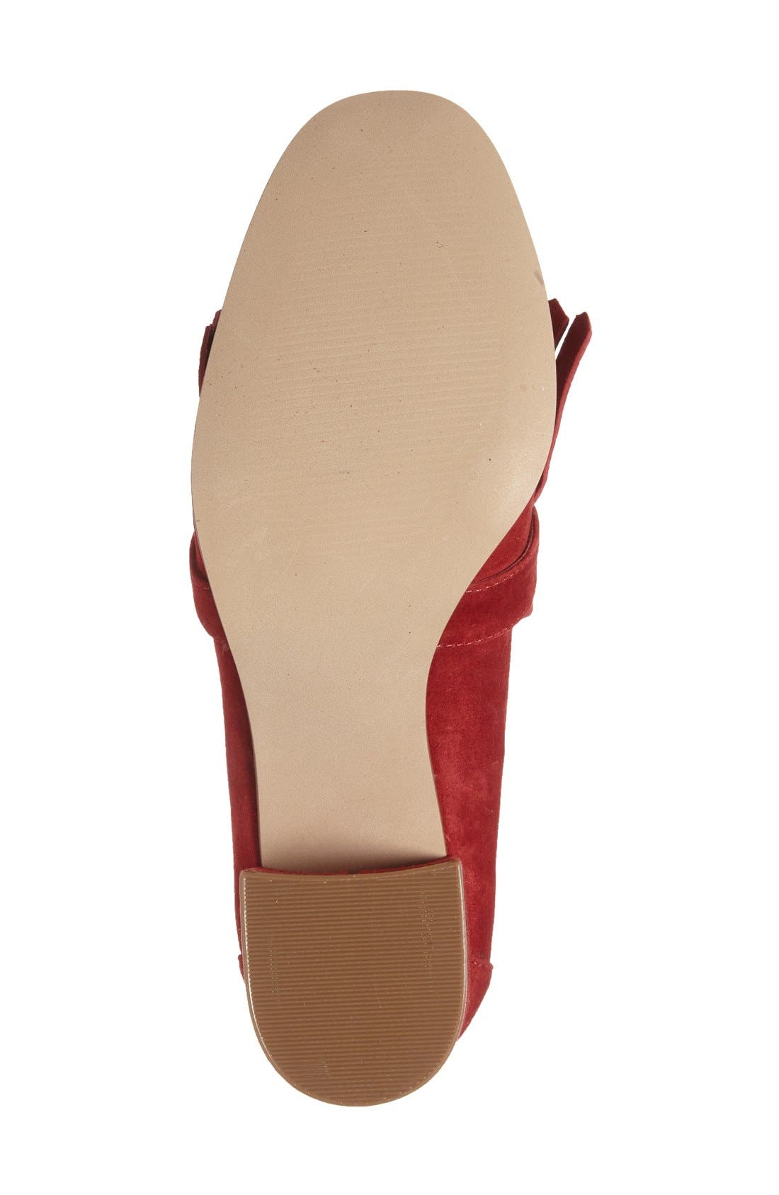 'Kate' Loafer Pumps,                             Alternate thumbnail 4, color,                             Red Suede